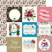 "Echo Park - Alice in Wonderland - 4""x4"" Journaling Cards 12x12 Cardstock"